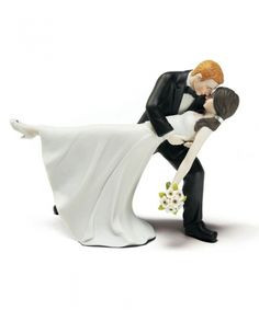 A Romantic Dip Dancing Bride and Groom Couple Figurine - First one I have seen where girl has dark hair and boy is blonde! It's us.