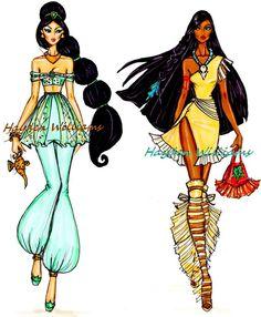 Jasmine e Pocahontas - Desfile de moda