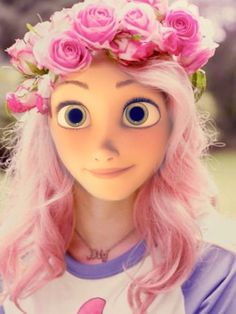 Rapunzel with pink hair and flowes in hair Disney Princess Fashion, Disney Princess Rapunzel, Tangled Rapunzel, Princesa Disney, Disney Style, Punk Disney, Arte Disney, Disney Girls, Disney Art