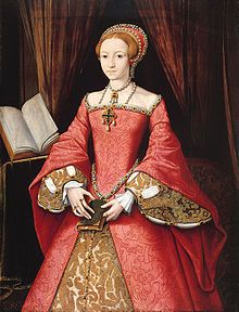 Princess Elizabeth, aged about 13. This portrait depicts Elizabeth as studious, and highlights her long fingers, which she was very proud of!