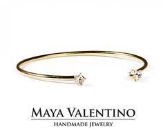 Dual bracelet, 14K Gold bracelet, Minimalistic Bracelet, Star Crystal, Prom Jewelry, Arm bracelet, Dual Bracelet, open bracelet, gift.