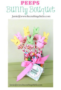 """Peeps Bunny Bouquet.  Made for Creativity Night 031613.  Dowel theme.  So, I used yellow painted dowels instead of paper straws.  If making """"for real"""", I would use paper straws."""