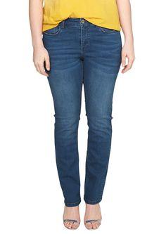 """Stretch-Jeans Stretch-Jeans mit leichter Waschung und Sitzfalten-Effekten. Klassischer 5-Pocket-Style mit Reißverschluss. Figurbetonte Passform Gerade"""" mit leicht vertieftem Bund und schmalem Bein für eine normale Hüfte, einen flachen Po und normale Oberschenkel. Elastischer Baumwoll-Denim.  Materialzusammensetzung:Obermaterial: 98% Baumwolle, 2% Elasthan,  ..."""