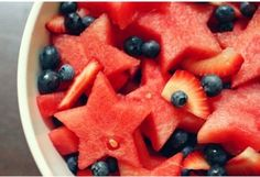 Memorial day or 4th of July red white and blue fruit salad. Love the cute watermelon stars! #party ideas #recipes