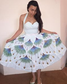 handpainted skirt - vintage-inspired reproduction from 1956 vintage pattern , painted and embroidered with sequins - entirely handmade Vintage Skirt, Vintage Inspired, Sequins, Hand Painted, Creative, Skirts, Pattern, Handmade, Inspiration