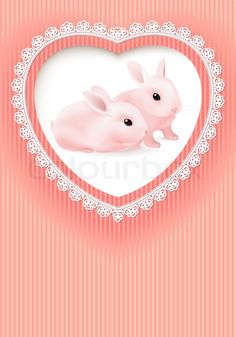 Stock vector of 'Two Rabbits in a Heart on Pink background'