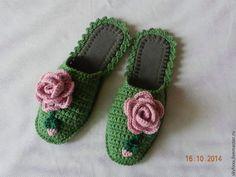 """Обувь ручной работы. Ярмарка Мастеров - ручная работа """"Розовые розы"""" тапочки (подошва валяная). Handmade."""