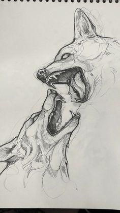 Scary Drawings, Dark Art Drawings, Art Drawings Sketches Simple, Animal Sketches, Pencil Art Drawings, Animal Drawings, Drawing Ideas, Arte Sketchbook, Art Reference Poses