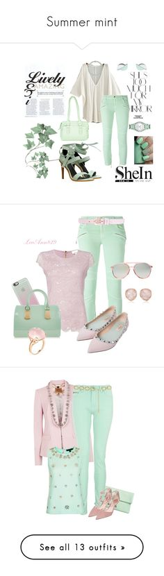 """""""Summer mint"""" by kltrask ❤ liked on Polyvore featuring TIBI, Rosetti, Wolf & Moon, Honora, Rika, Relic, Just Cavalli, Casetify, Furla and Valentino"""