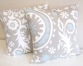 Taupe Suzani Decorative Pillow Covers 20 X 20 Inch Taupe and Powder Blue Floral Cushion Covers