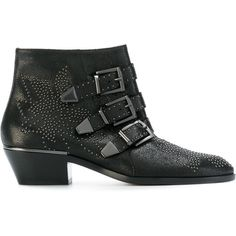 Chloé Susanne micro-stud booties (4.320 BRL) ❤ liked on Polyvore featuring shoes, boots, ankle booties, black, black leather boots, black booties, black studded boots, boho boots and leather booties