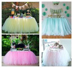 Tulle Tutu Table Skirts for Wedding Party Home Tableware Decoration Tulle Table Skirt, Tutu Table, Table Skirts, Birthday Decorations, Wedding Decorations, Table Decorations, Candy Buffet Tables, Deco Table, Birthday Parties