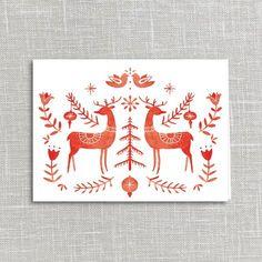 Folklore Deer Holiday Card Printable Digital Download | Julianna Swaney