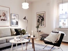 Framed photographs in the apartment living room