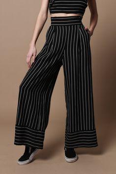 TWIIN Direct Striped Wide Leg Pant - Black Stripe – Calico