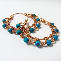 Wire Wrapped Earrings  Copper and Turquoise by ABoxofBeads on Etsy, $24.99