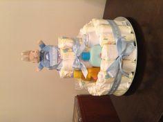 Nappy cake with baby bath, powder, oil etc