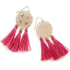 ShoeDazzle Earrings Filigree On The Fringe Womens Pink ❤ liked on Polyvore featuring jewelry, earrings, pink, fringe earrings, bohemian jewelry, boho jewelry, earring jewelry and boho jewellery