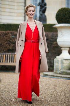 Eva Herzigova in Dior | Paris Fashion Week Street Style from Harper's Bazaar