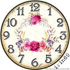 2 (700x698, 401Kb) Vintage Diy, Decoupage Vintage, Vintage Images, Clock Craft, Diy Clock, Clock Wall, Clock Face Printable, Victorian Clocks, Clock Template