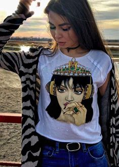 Hand Painted t shirt Rihanna