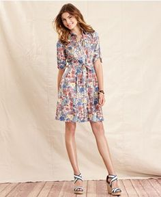 Tommy Hilfiger Dress, Three-Quarter-Sleeve Floral-Print A-Line - Dresses - Women - Macys