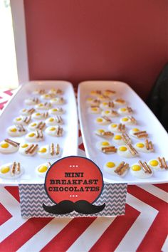 baby shower brunch mini chocolates0 made to look like bacon & eggs!  So cute!  // Sean & Shey: Naptime Prattle