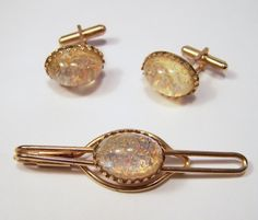 Vintage Men's Jewelry Set Cuff Links Tie Clasp by GretelsTreasures