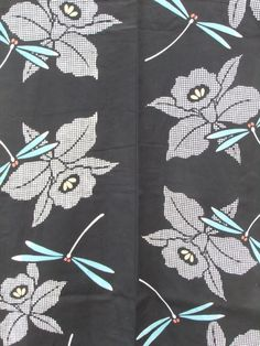 ☆ New Arrival☆ 'Dragon Flight' #women's #vintage #black #cotton #Japanese #yukata #kimono with #dragonfly and #floral #pattern from #FujiKimono http://www.fujikimono.co.uk/fabric-japanese/dragon-flight.html #textile #costume #fashion #kawaii #cosplay #HammersmithVintageFair #HyperJapan