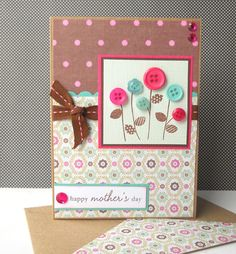 Hand Made Mothers Day Cards | Button Garden - Handmade Mother's Day Card with Matching Embellished ...