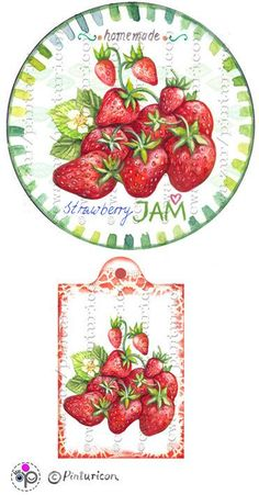 Items similar to Circle jam label strawberry jam label printable mason jar sticker homemade fruit labels gift tags on Etsy Jam Jar Labels, Jam Label, Canning Labels, Chicken Painting, Fruits Images, Printable Labels, Free Printable, Printables, Decoupage