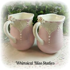 Whimsical Bliss Studios - Set of 2 - I Heart You Mugs