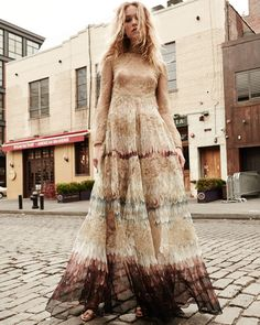 Valentino Angel Wings-Print Lace Gown