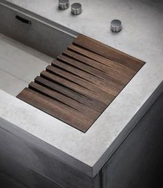 Concrete sink detail with timber