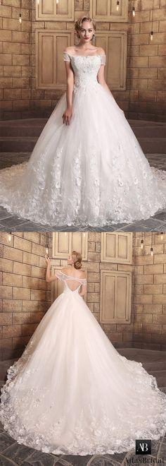 Gorgeous tulle off-the-shoulder neckline ball gown wedding dresses. It makes you the unique princess. (WWD47994) - Adasbridal.com