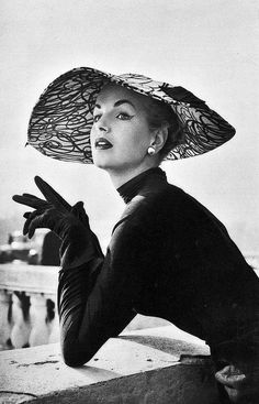 1953 Model in dress and hat by Jacques Fath                                                                                                                                                                                 More