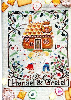Ricami e schemi a Punto Croce gratuiti: Sampler Hansel e Gretel da ricamare a punto croce
