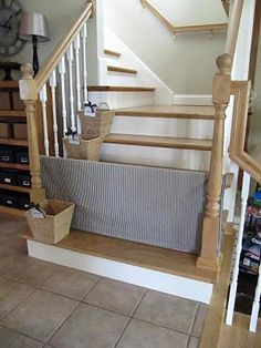 DIY dog gate...use for baby? maybe add ribbon on the edges to tie to the spindles, so toddlers can't slide it? @Clay
