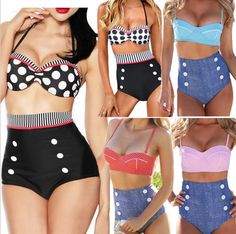 Fashion Summer High Waist Swimsuits Women Cute Tankini Bathing Suits Retro Bikini