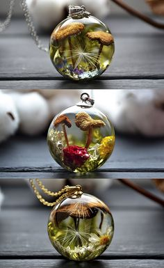 Terrarium necklaces.  Resin, epoxy resin, resin art, resin crafts, resin ideas, craft ideas,  terrarium jewelry, handmade craft, handmade ideas, jewelry, handmade jewelry, resin jewelry, flower jwelry, mushroom art, necklace handmade, nature, christmas gifts, gifts for girlfriend, gifts for her, craft ideas, gift ideas