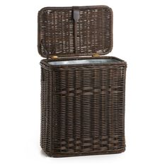 13 gal Inside Detail of KItchen Wicker Trash Basket with Metal Liner in Antique Walnut Brown $83