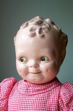 """CAMEO  """"SCOOTLES"""" with SLEEP EYES /COMPOSITION /1930's...um, this is slightly terrifying.  Imagine your child sleeping with this doll!"""
