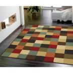 Checkered Design Multi 3 ft. 3 in. x 5 ft. Non-Skid Area Rug