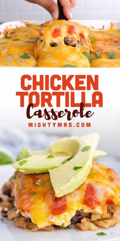 This 5-Layer Chicken Tortilla Casserole is a quick and easy chicken dinner idea that takes just 5 minutes to prep, needs only 5 ingredients and tastes delicous! Made with rotisserie or leftover cooked chicken, cooked rice and quinoa, salsa, cream cheese and a Mexican cheese blend. Add extra toppings like healthy fresh avocado slices, crushed tortilla chips and hot sauce. Layer in corn and black beans if you'd like. A simple layered chicken dinner idea similar to lasagna yet with Mexican… Brunch Recipes, Easy Dinner Recipes, Holiday Recipes, Soup Recipes, Chicken Recipes, Cooked Chicken, How To Cook Chicken, Chicken Tortilla Casserole, Layer Chicken