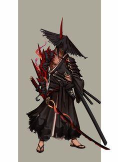 Fantasy Character Design, Character Design Inspiration, Character Concept, Character Art, Dnd Characters, Fantasy Characters, Demon Manga, Samurai Concept, Samurai Anime