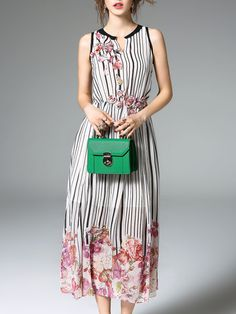 Shop Midi Dresses - Linen Printed Sleeveless Resort Midi Dress online. Discover unique designers fashion at StyleWe.com.