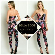 ☇FLASH SALE☇Floral belted plunge jumpsuit 96% POLYESTER, 4% SPANDEX. This darling jumpsuit features colorful pink, lilac, and hints of blue floral detail over black. Flattering plunging neckline, comes with matching thin pink belt. Fitted leg. Sizes small to large Bella Edge Boutique  Pants Jumpsuits & Rompers