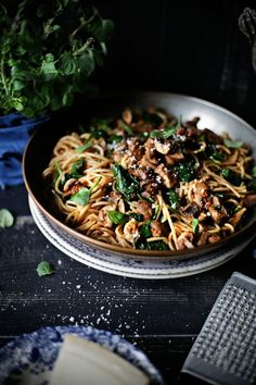 Spaghetti with Sauce, Mushrooms, and Sun Dried Tomatoes:   By Plates & Platters