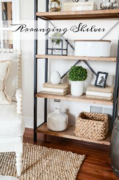 SHELVES IN THE LIVING ROOM- Shelves are the perfect way to add visual height and weight to any room. Today let's talk about using shelves in our homes.