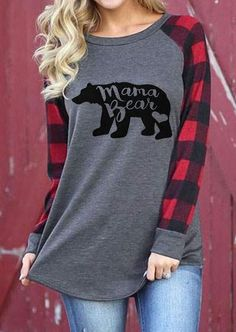 Mama Bear Plaid Pullover T Shirt Tops Casual Long Sleeve Blouse Tops Shirt Chemise Fashion, Women's Fashion, Fashion Dresses, Women's Dresses, Ladies Fashion, Fashion Clothes, Fashion Beauty, Arrow T Shirt, Women's T Shirts